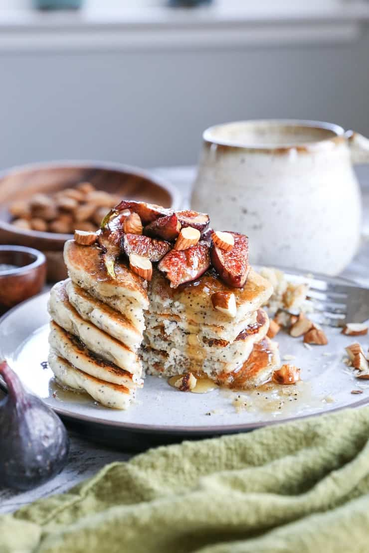 Gluten-Free Vegan Poppy Seed Pancakes with Caramelized Figs - the batter comes together quickly in your blender, making this an easy yet fancy breakfast recipe!
