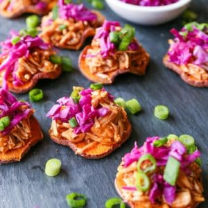 Sweet Potato BBQ Jackfruit Sliders - a healthy vegan appetizer perfect for game day!