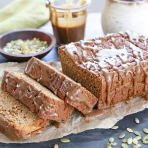 Gluten-Free Pumpkin Bread with Chai Caramel Glaze - refined sugar free, dairy-free, made with almond flour and rice flour for the ultimate moist, fluffy, and healthy treat