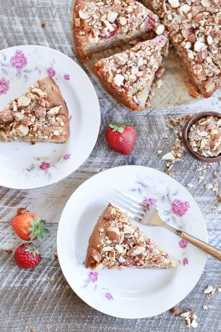 Grain-Free Strawberry Breakfast Cake - a gluten-free, naturally sweetened healthy breakfast cake made using almond flour, olive oil, and pure maple syrup