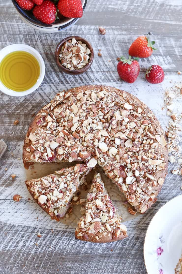 Grain-Free Strawberry Breakfast Cake - a gluten-free, naturally sweetened healthy breakfast cake with almond flour, olive oil, and pure maple syrup
