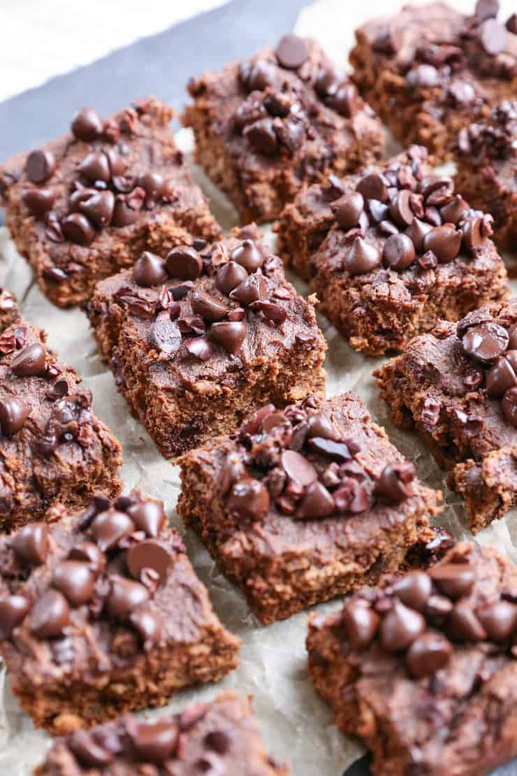 Paleo Pumpkin Brownies (with a vegan option!) - these grain-free, refined sugar-free, naturally sweetened brownies are made with coconut flour and pure maple syrup
