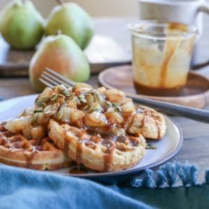 Paleo Pumpkin Waffles with Caramelized Pears - grain-free, dairy-free, refined sugar-free and healthy, these waffles are a real treat!