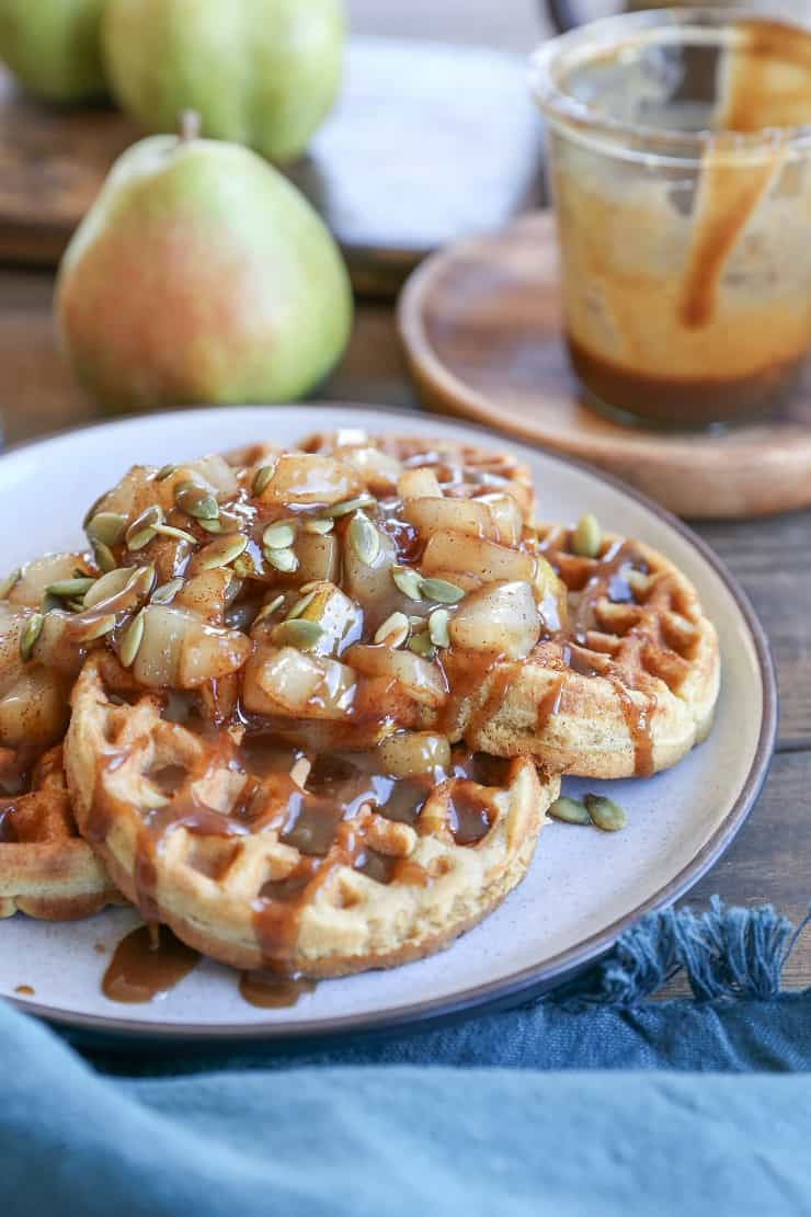 Paleo Pumpkin Waffles with Maple Cinnamon Spiced Caramelized Pears - a nutritious breakfast that is grain-free, sugar-free, and dairy-free
