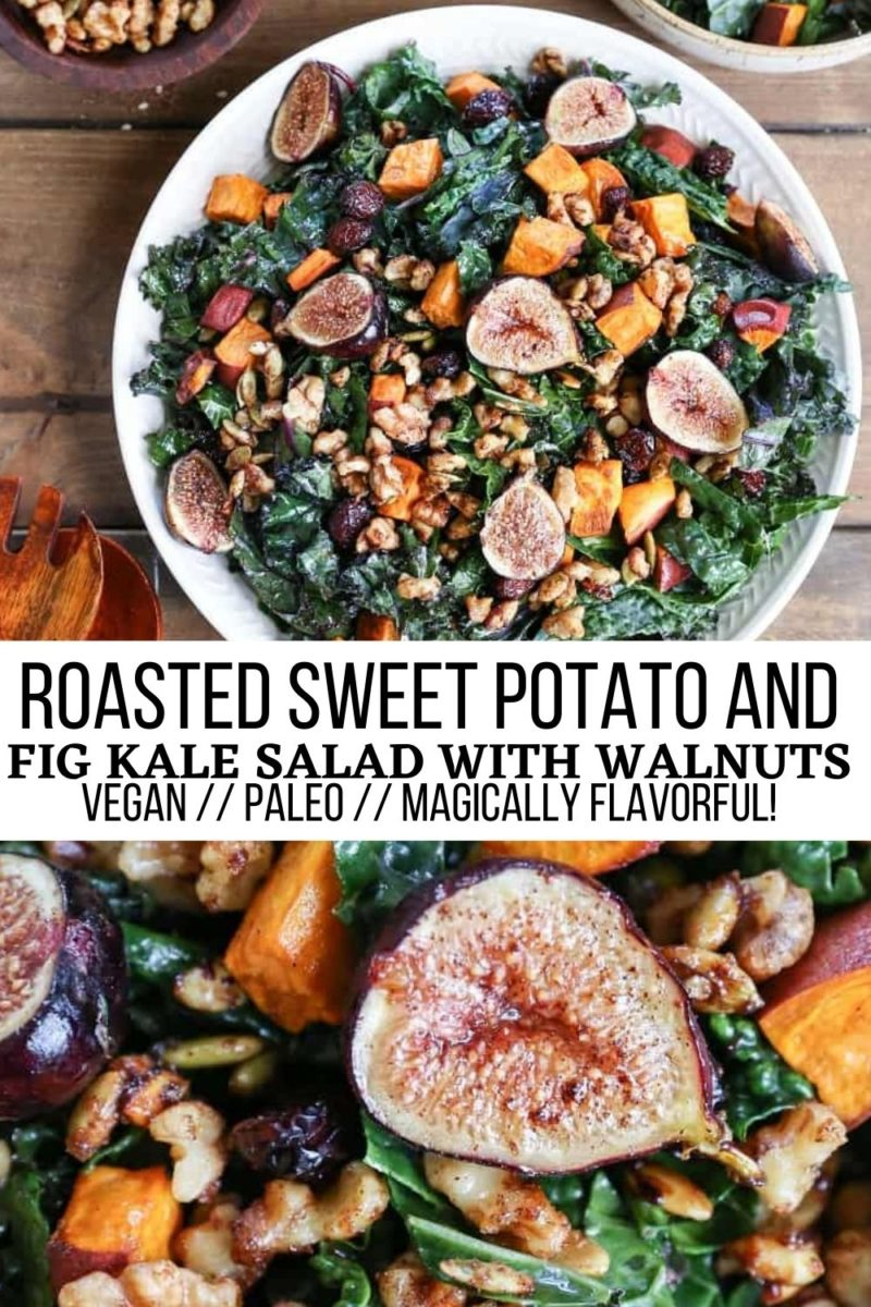 Roasted Sweet Potato and Fig Kale Salad with maple-toasted walnuts, dried cranberries, and maple-cinnamon cider vinaigrette - a healthy vegan salad recipe perfect for fall and winter