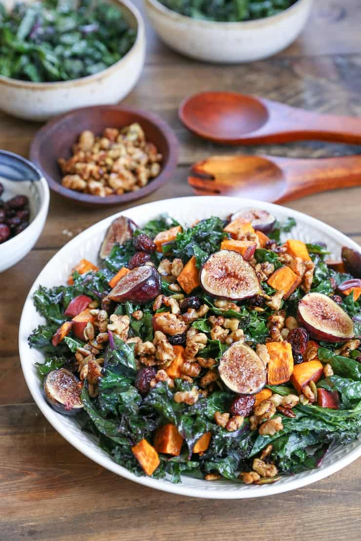 Roasted Sweet Potato and Fig Kale Salad with Maple ...