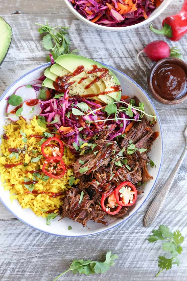 Slow Cooker Barbacoa Beef Burrito Bowls with Turmeric Rice and Cabbage Slaw - gluten-free, paleo, healthy dinner recipe