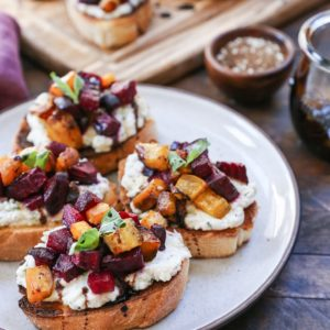 Roasted Beet Herbed Vegan Ricotta Crostini - this delicious and nutritious appetizer is plant-based and dairy-free!