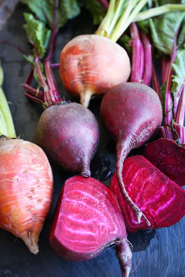 Raw beets with greens attached