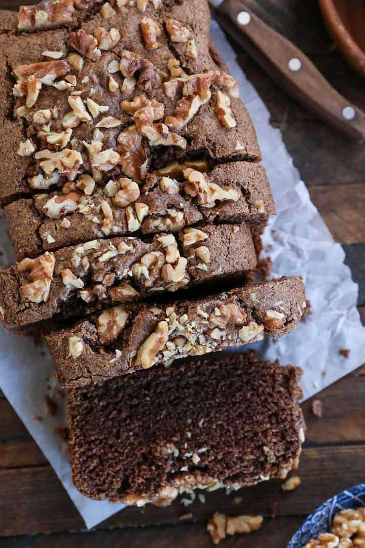 Paleo Maple Walnut Bread - grain-free, refined sugar-free, dairy-free and healthy quick bread made with almond flour and pure maple syrup