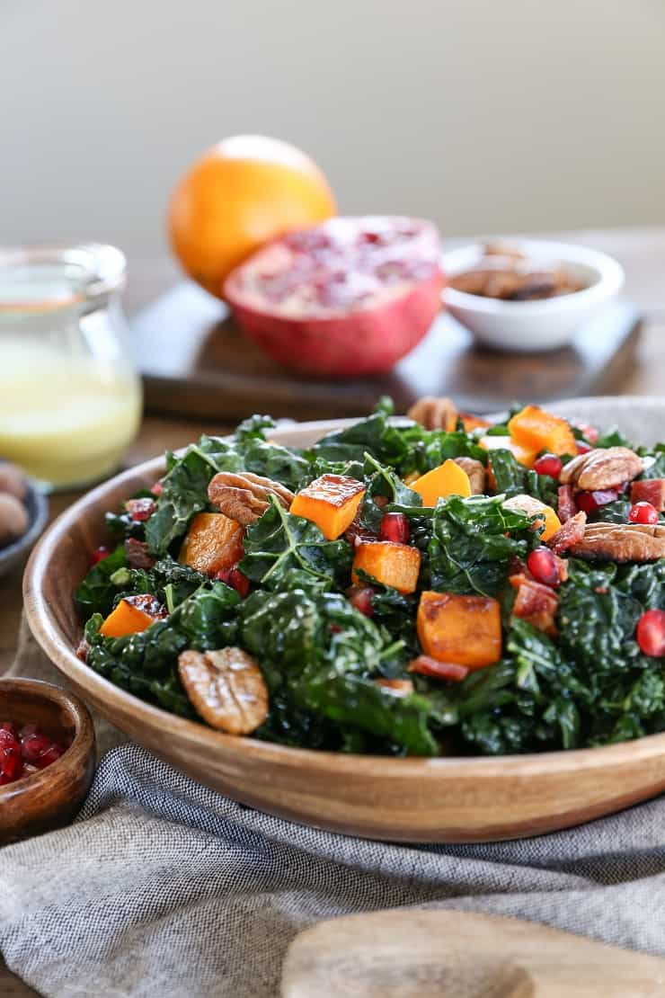 Roasted Butternut Squash Kale Salad with Pecans and Orange ...