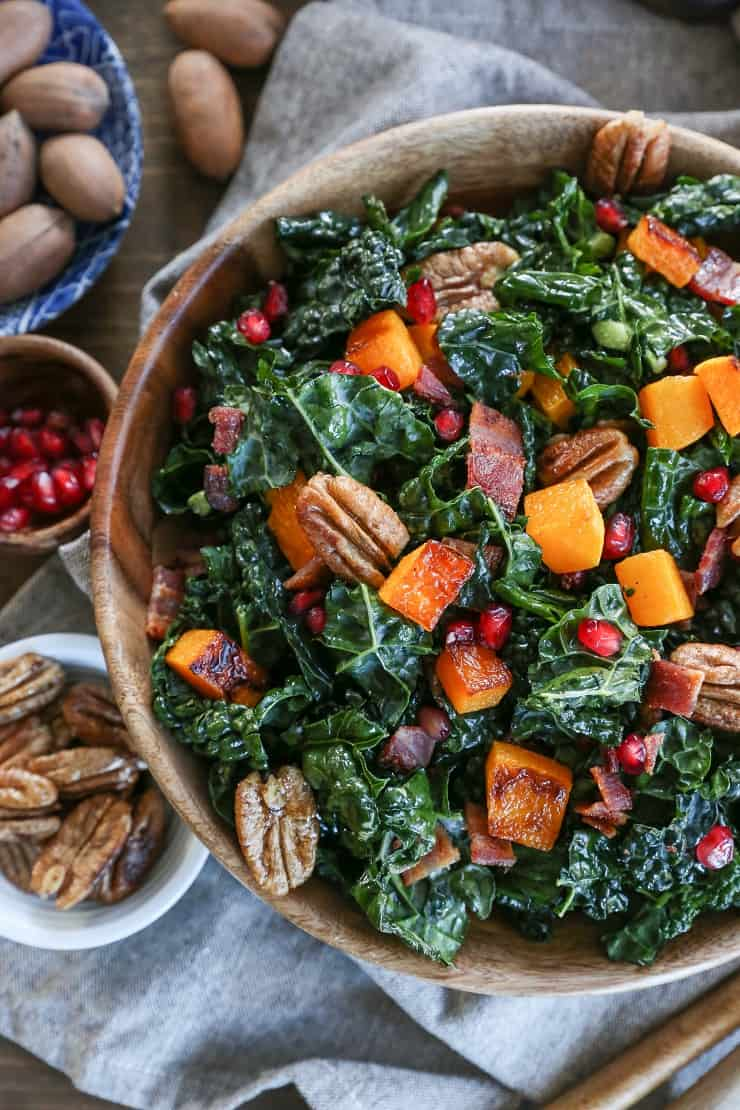 Roasted Butternut Squash Kale Salad with Pecans and Orange Vinaigrette - a perfect holiday side dish or entree this fall and winter