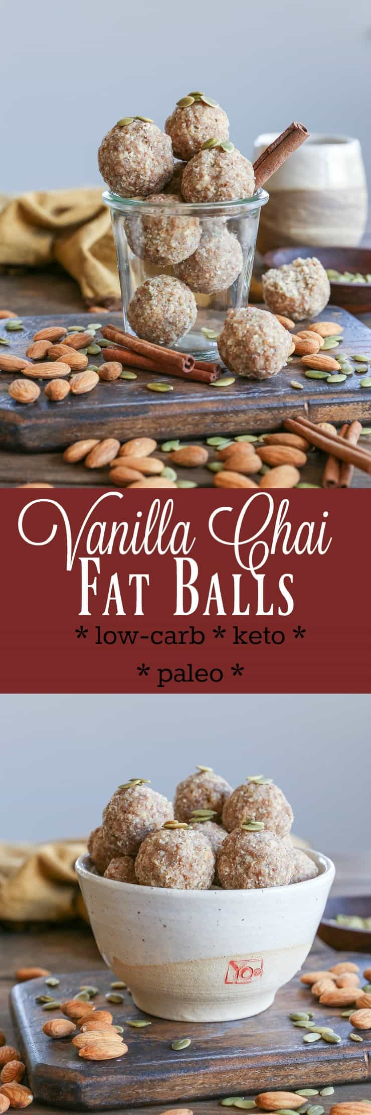 Vanilla Chai Fat Balls - a clean low-carb keto snack made with nuts, seeds, coconut butter, and pure maple syrup #keto #paleo #glutenfree