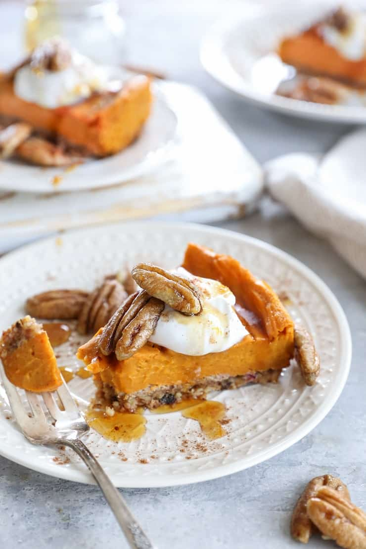 Vegan Bourbon Orange Sweet Potato Pie - grain-free, dairy-free, refined sugar-free, and almost paleo