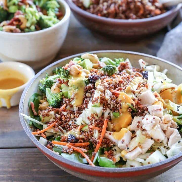 Crunchy Quinoa Broccoli Cabbage Spinach Salad