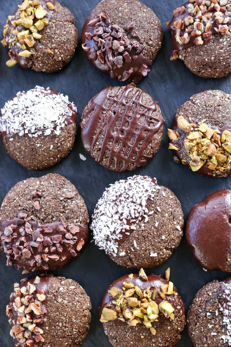 Chocolate-Dipped Molasses Cookies - paleo, vegan, grain-free, refined sugar-free, and healthy! The perfect Christmas cookie