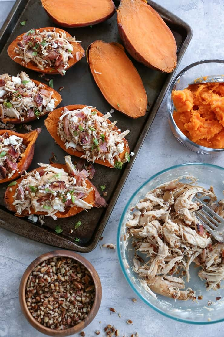 Loaded Sweet Potato Skins with Pecans, Chicken, Bacon, and Goat Cheese - a healthier take on the classic appetizer