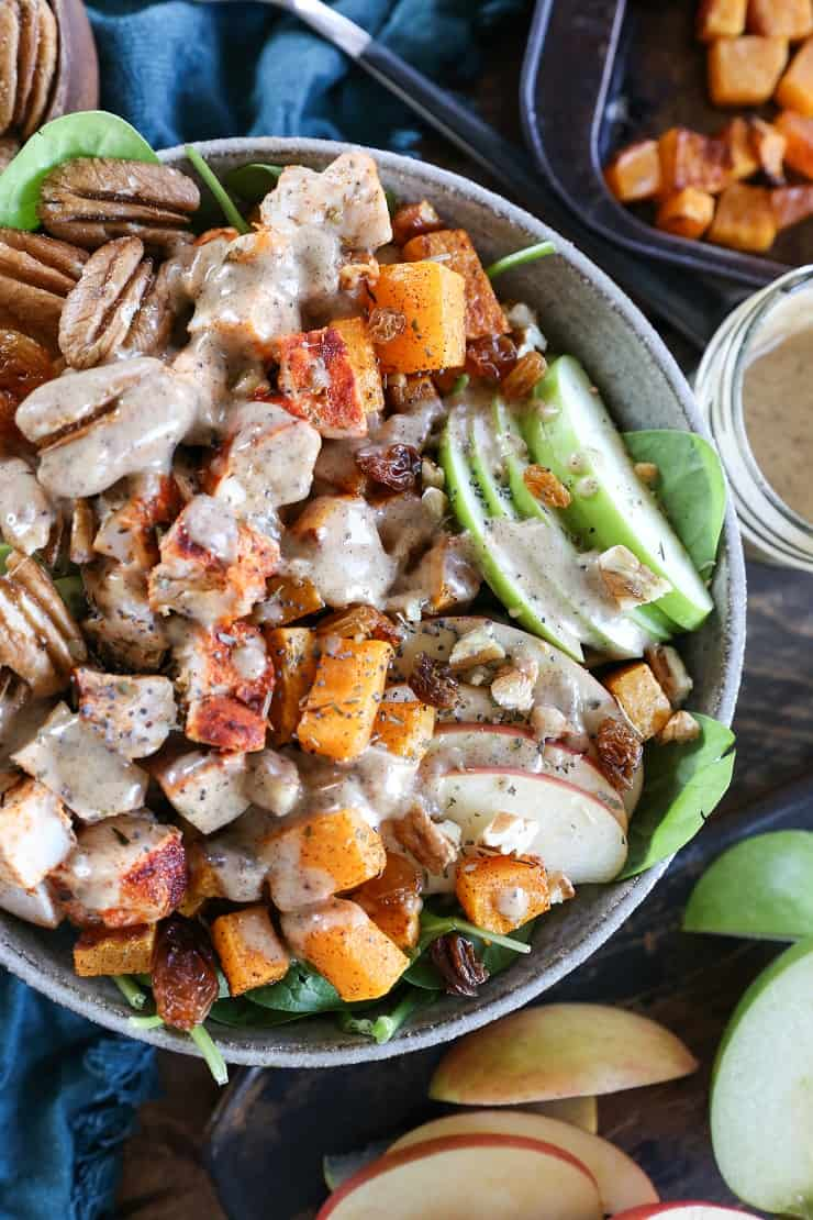 Roasted Butternut Squash and Chicken Spinach Salad - The ...