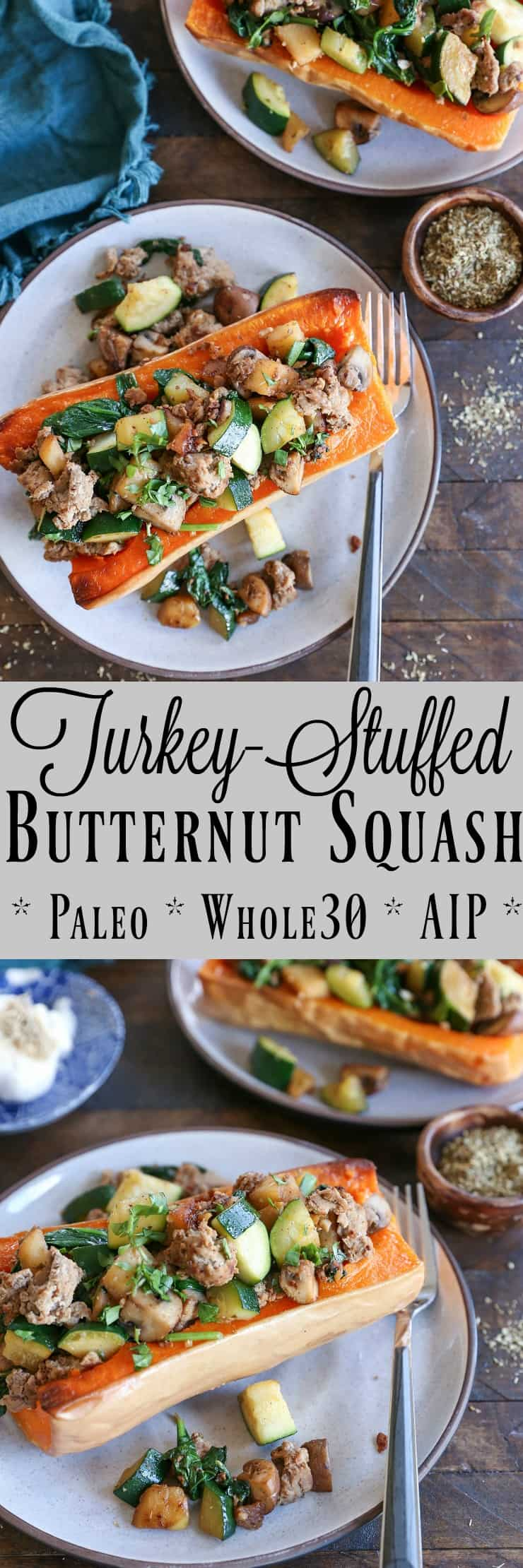 Turkey-Stuffed Butternut Squash with zucchini, mushrooms, and spinach. This healthy meal is paleo, AIP, and delicious!