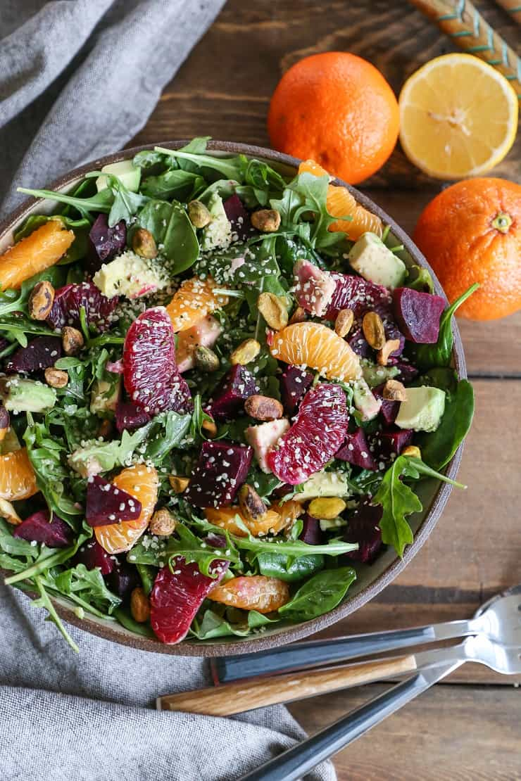Citrus Roasted Beet Salad with avocado, pistachios, hemp seed, and lemon dressing - a vitamin-packed adventure for a clean meal #vegan #paleo #healthy