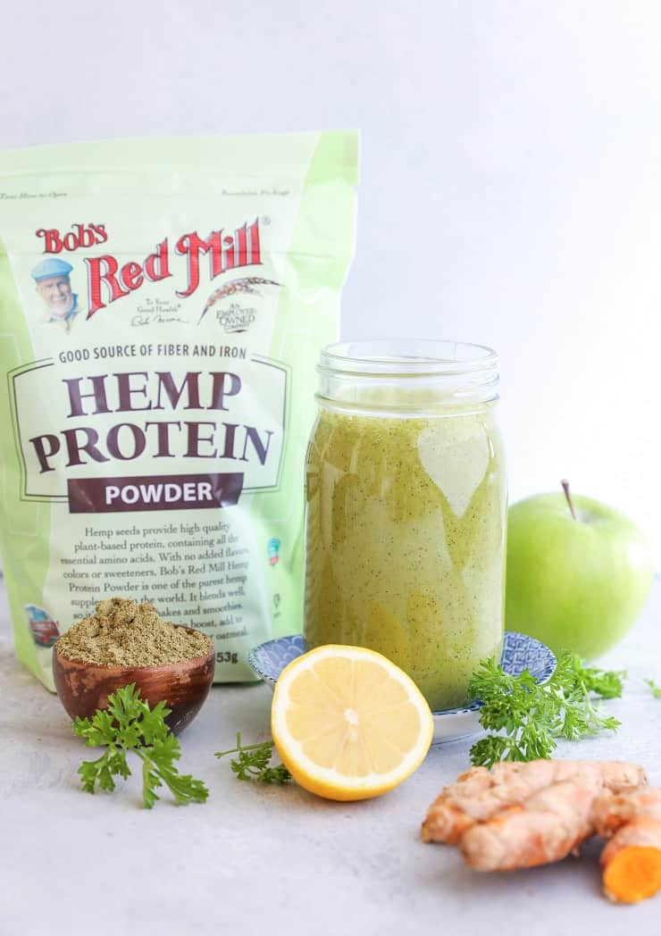 Liver Detox Smoothie with apple, spinach, parsley, turmeric, and more! This nutritious smoothie is a great tool for cleansing!