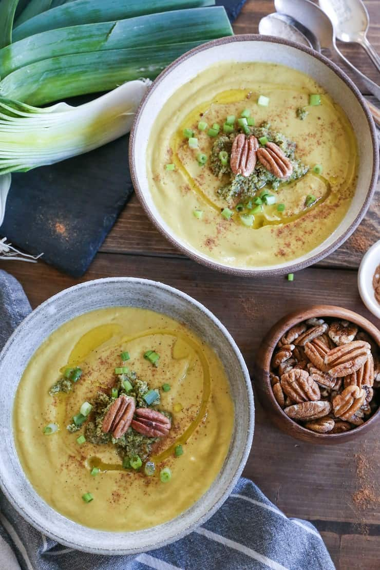 Roasted Pecan Butternut Squash Soup with coconut milk and sauteed leek - paleo, Whole30, vegan