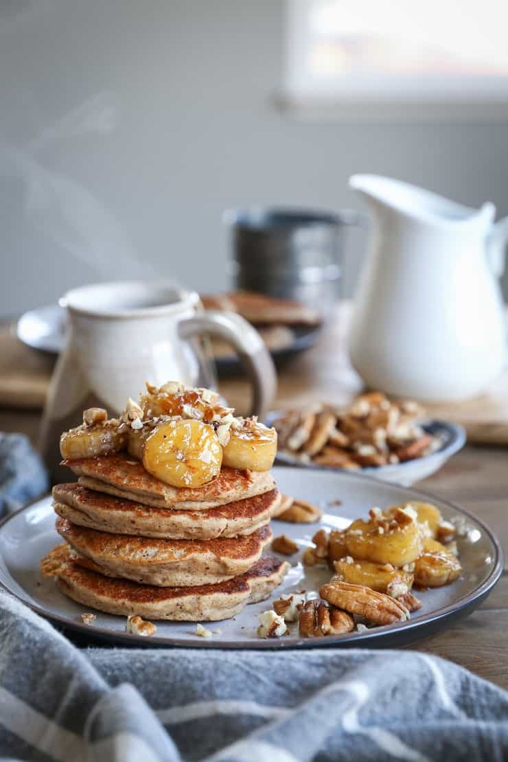 Bananas Foster Banana Pancakes - gluten-free banana pancakes made with rice flour and almond flour. This easy pancake recipe is prepared in a blender