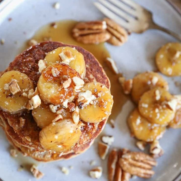 Bananas Foster Banana Pancakes - an epic banana experience. These gluten-free banana pancakes are made with rice flour and almond flour in your blender