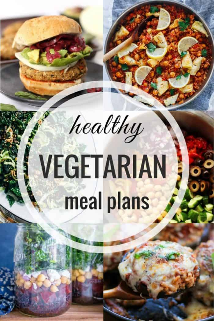 Healthy Vegetarian Meal Plan with a printable grocery list
