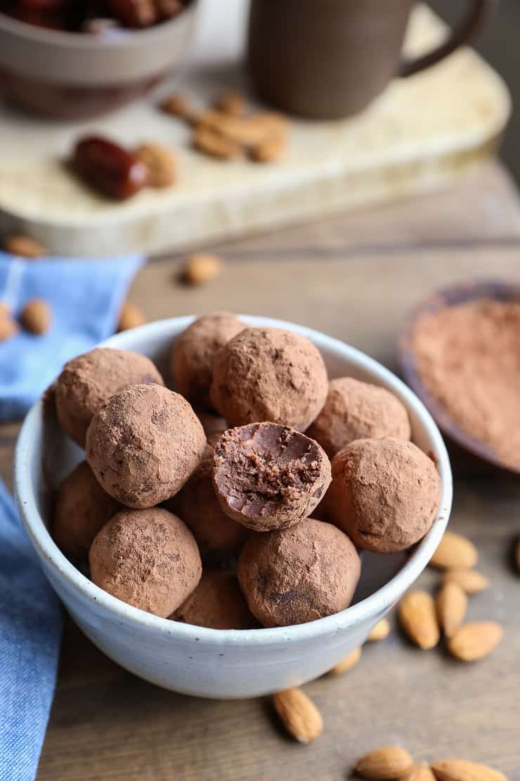 Chocolate Fat Balls made with nuts and seeds for a protein-packed low-sugar snack.