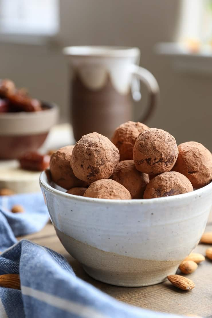 Chocolate Fat Balls made with nuts, seeds, dates, and cacao powder. These easy-to-prepare treats are perfect for snacking.