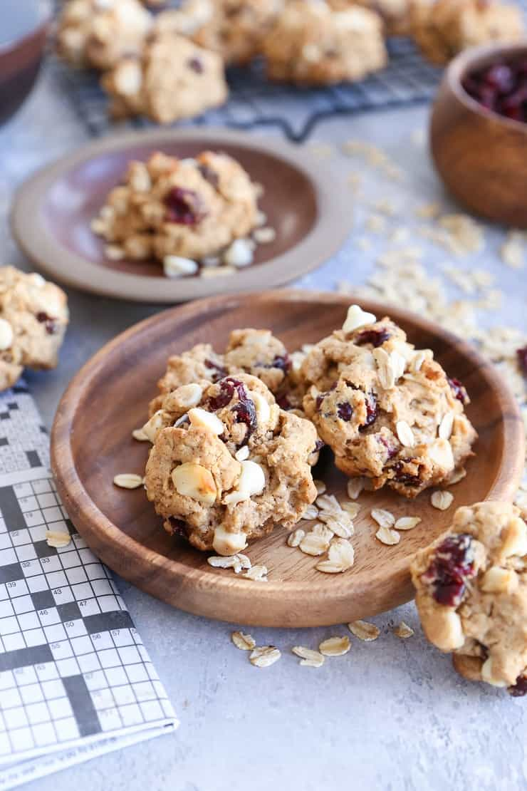 Gluten-Free Oatmeal Cookies with white chocolate chips, dried cranberries, and macadamia nuts - these cookies are refined sugar-free and healthy