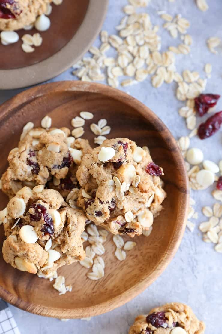 Gluten-Free Oatmeal Cookies with white chocolate chips, dried cranberries, and macadamia nuts