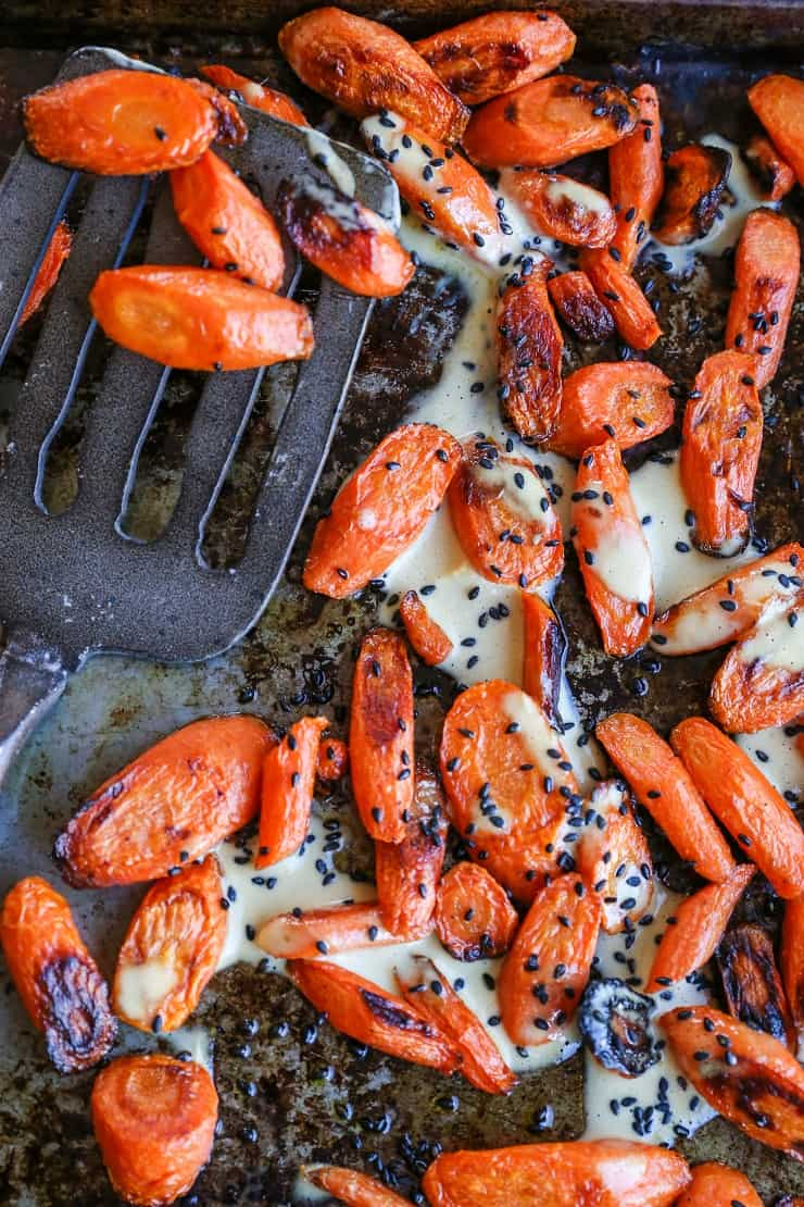 Orange-Ginger Roasted Carrots - an easy, flavorful healthy side dish to go alongside all your favorite entrees
