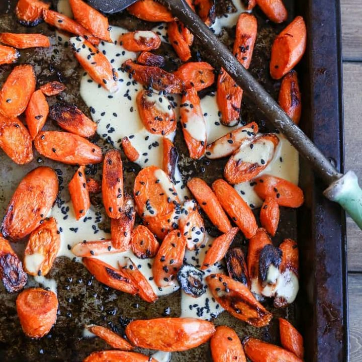 Orange-Ginger Roasted Carrots - a healthy flavorful side dish that happens to be paleo and vegan