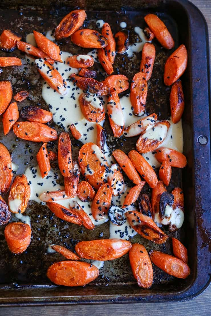 Orange-Ginger Roasted Carrots - an easy paleo and vegan side dish