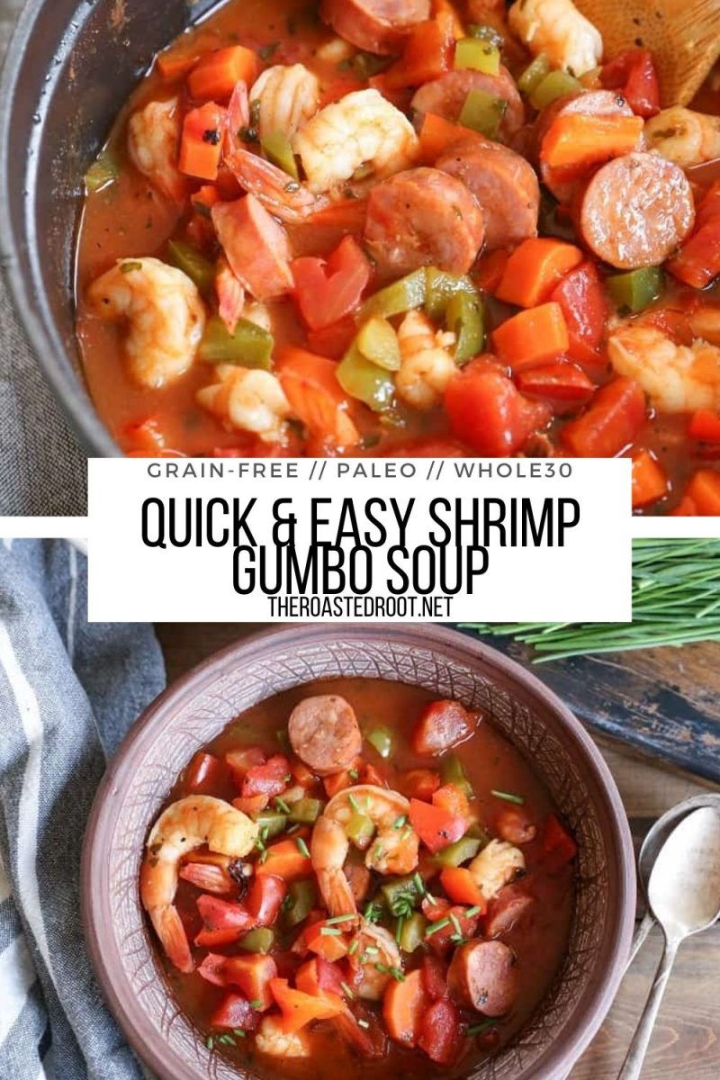 Paleo Shrimp Gumbo Soup made grain-free and dairy-free. A quick and easy healthy soup recipe!