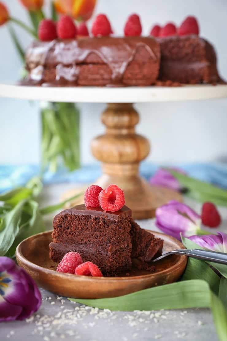 Paleo Chocolate Cake with rich Chocolate Ganache - this healthier grain-free take on classic chocolate cake is made easily in your blender