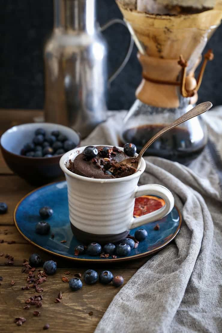 5-Minute Paleo Chocolate Mug Cake - a grain-free, refined sugar-free, dairy-free chocolate cake recipe for one!