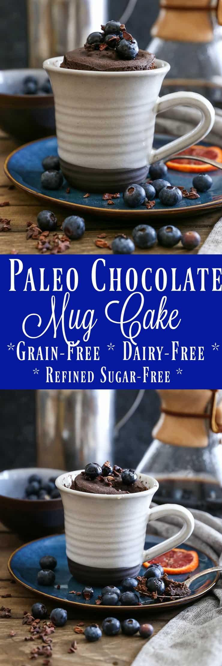5-Minute Paleo Chocolate Mug Cake made grain-free, refined sugar-free, and dairy-free. This healthy cake-for-one takes hardly any effort to make and is absolutely delicious!