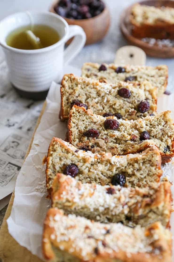 Paleo Cranberry Orange Bread made with almond flour and coconut oil. This healthy snack or breakfast recipe comes together quickly in your blender