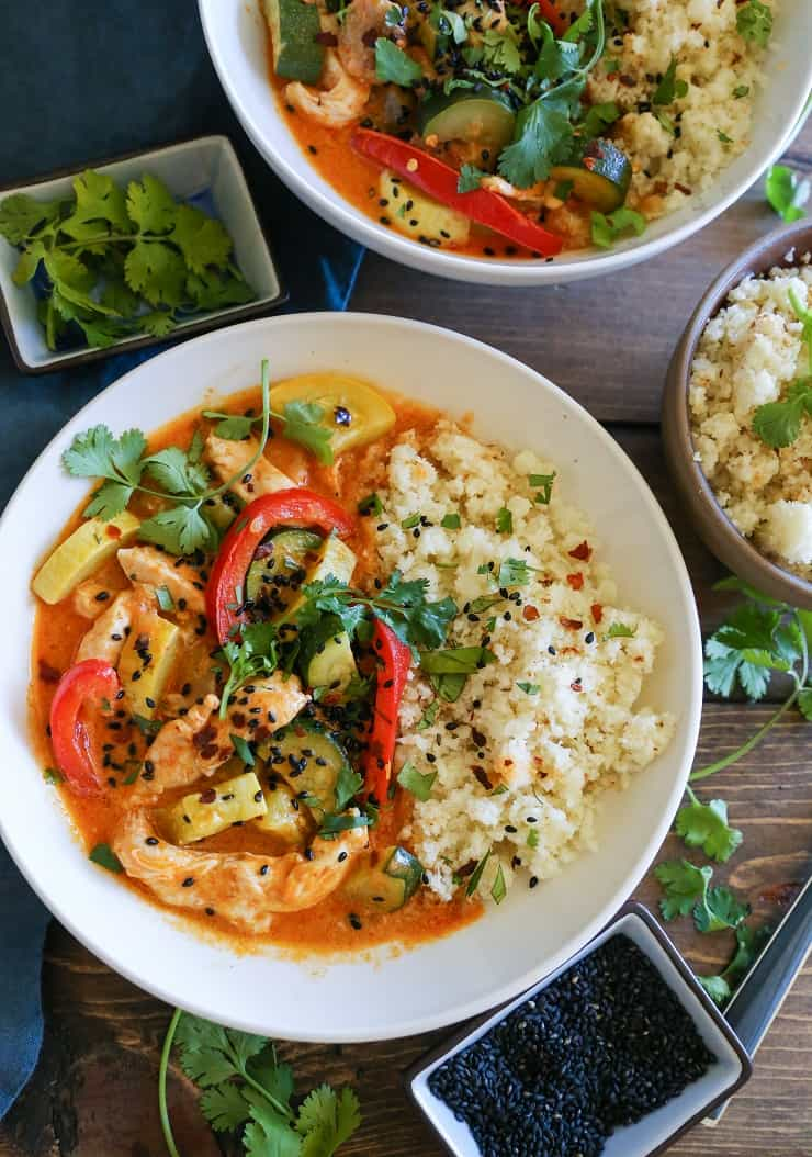 Red Curry Chicken with Vegetables - a quick and simple recipe that can be prepared any night of the week -grain-free, whole30, and paleo!