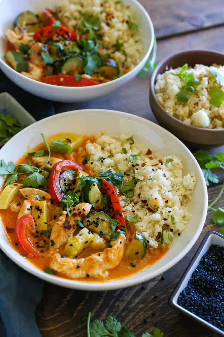 Easy Red Curry Chicken with Vegetables - this healthy red curry recipe only requires about 45 minutes, and is paleo and whole30 approved