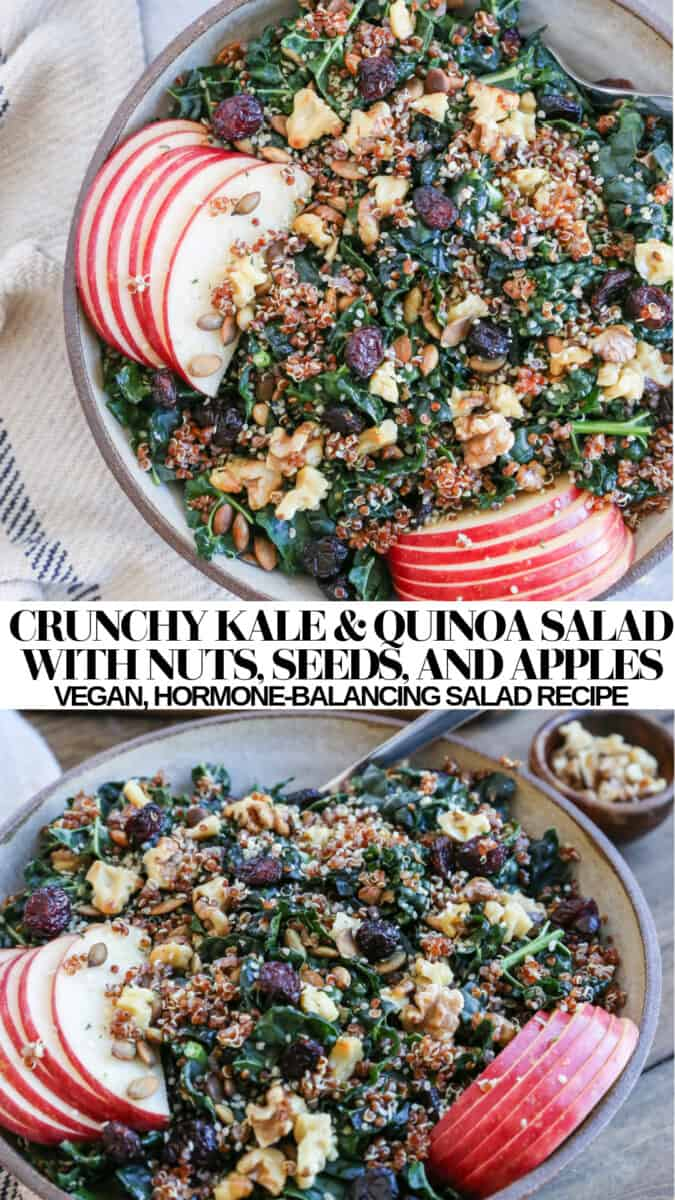 Crunchy Kale and Quinoa Salad with apples, walnuts, pumpkin seeds, and dried cranberries. A healthy hormone-balancing vegan salad recipe