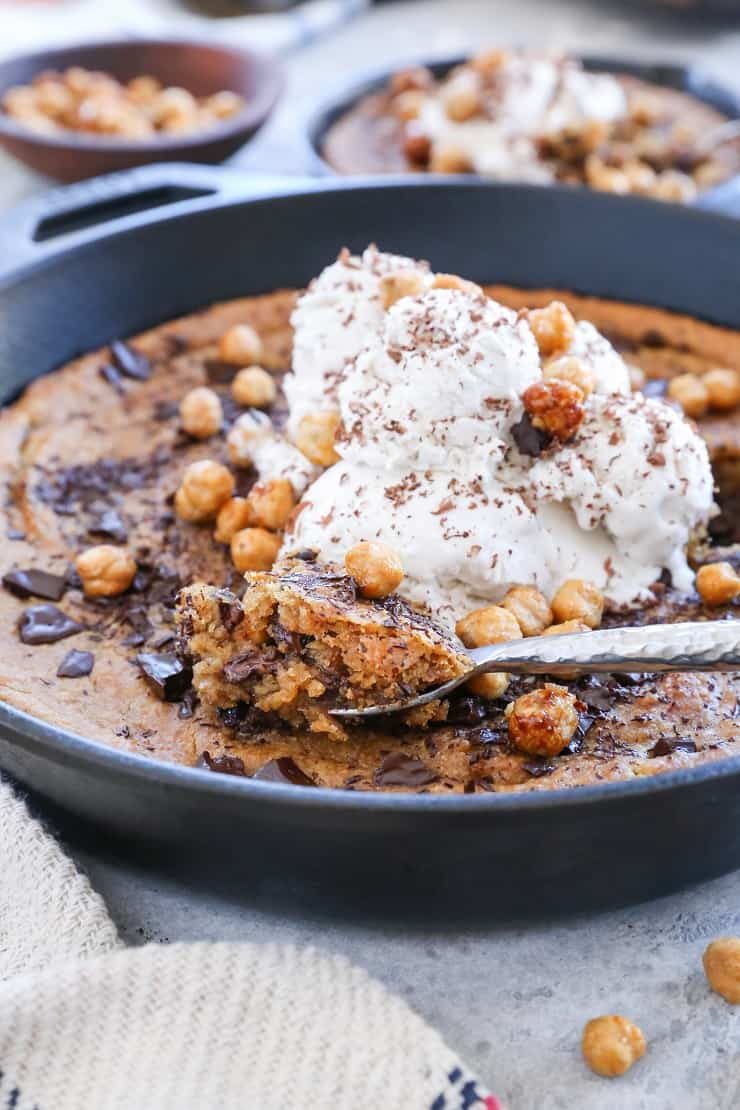 Chocolate Chip Almond Butter Chickpea Skillet Cookie - made with chickpeas, pure maple syrup, and almond butter for a healthy and delicious gluten-free dessert