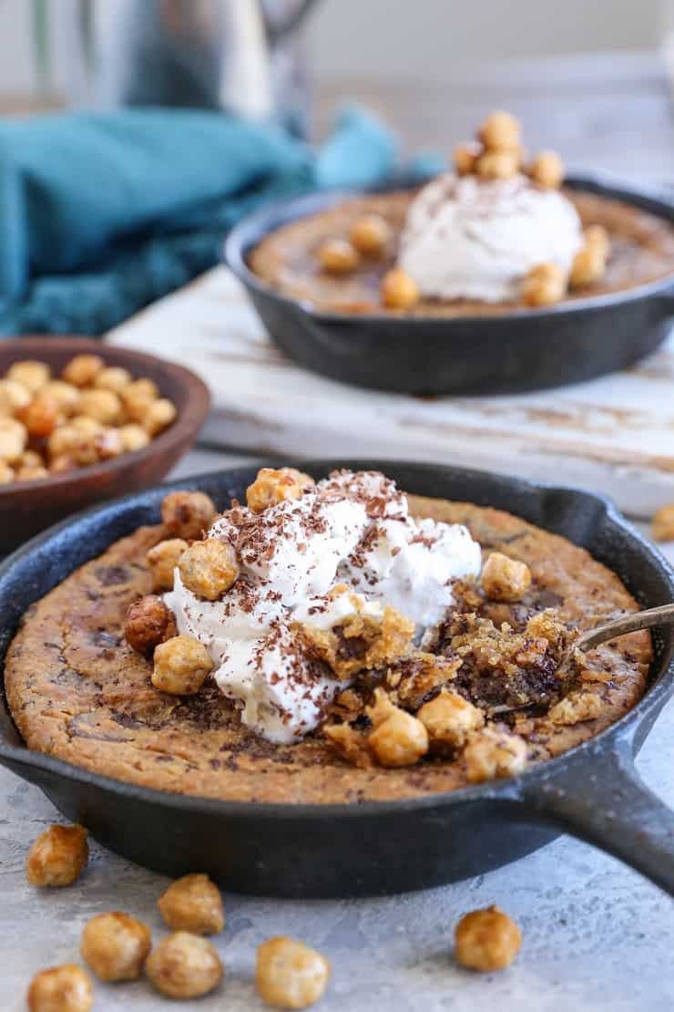Almond Butter Chocolate Chip Skillet Cookie made with chickpeas, pure maple syrup, and almond butter for a healthier treat