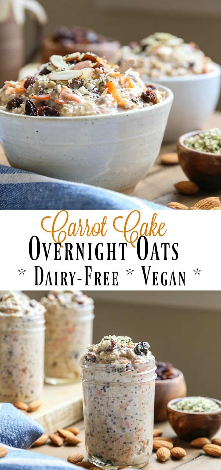 Carrot Cake Overnight Oats - packed with protein, complex carbs, veggies, and prebiotics for a gut-healthy breakfast #vegan #glutenfree #healthy