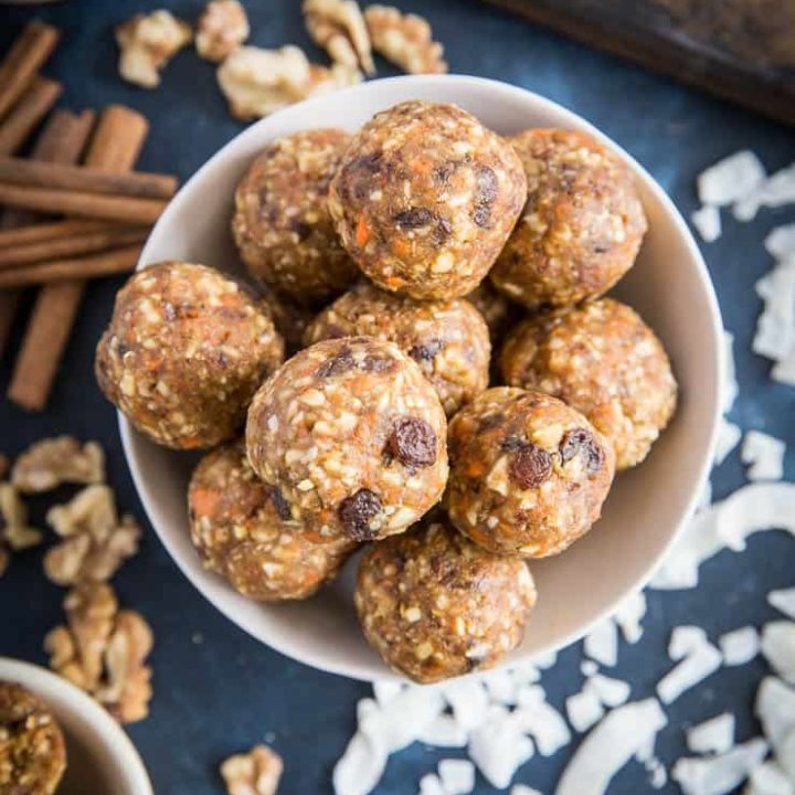 Carrot Cake Fat Balls - vegan and paleo snacks made with nuts, seeds, dates, and carrot cake ingredients for a healthy snack or treat