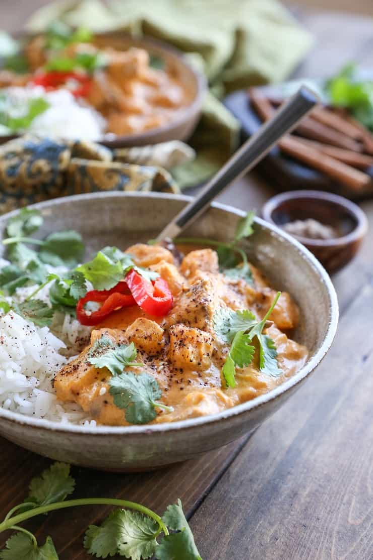 Chicken Massaman Curry is a healthier take on Thai takeout. Butternut squash and chicken are stewed in flavorful aromatic coconut milk for a satisfying, delicious meal