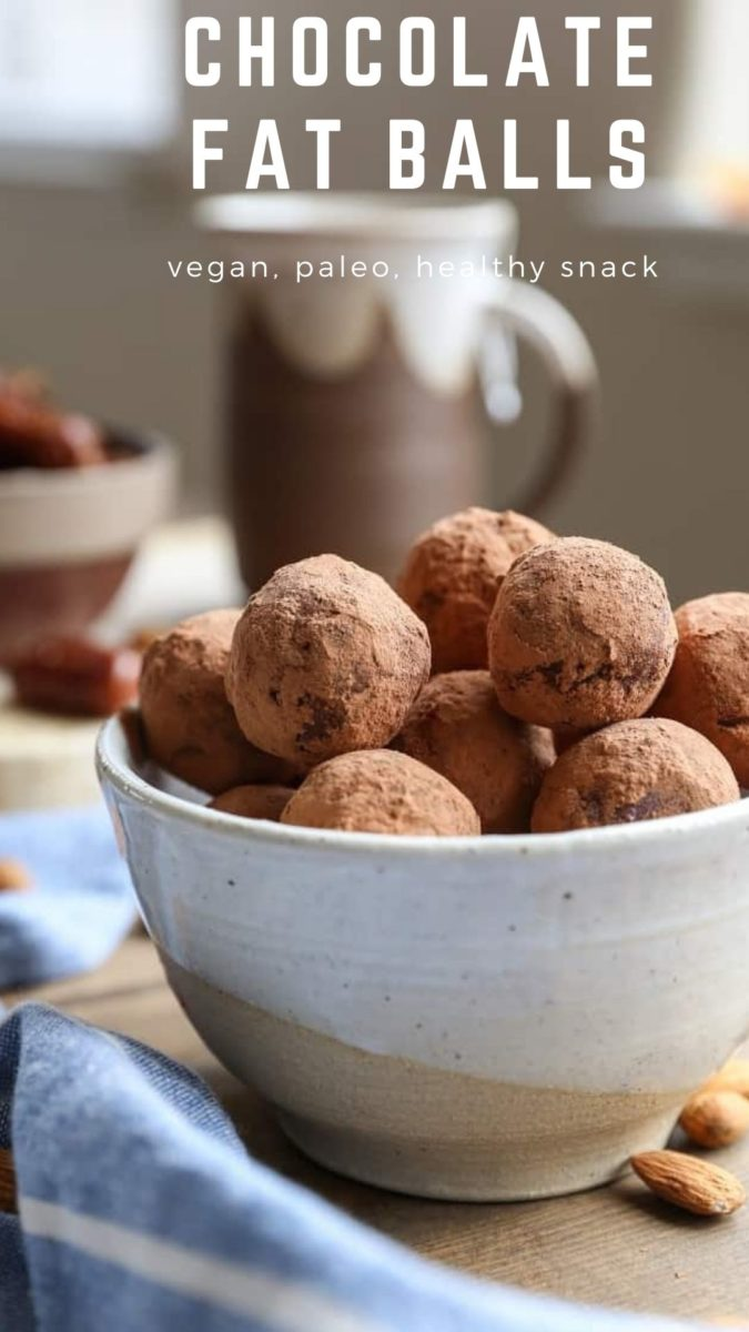 Paleo Vegan Chocolate Fat Balls made with clean, basic ingredients for a healthy snack or dessert!